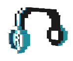 Blue 8-Bit Headphones